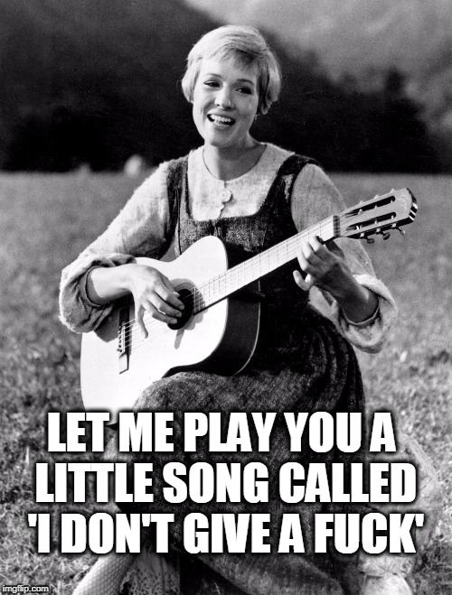 Julie doesn't give a fuck! | LET ME PLAY YOU A LITTLE SONG CALLED 'I DON'T GIVE A F**K' | image tagged in guitar,julie andrews,no fucks given,no fucks to give,sound of music,the sound of music | made w/ Imgflip meme maker