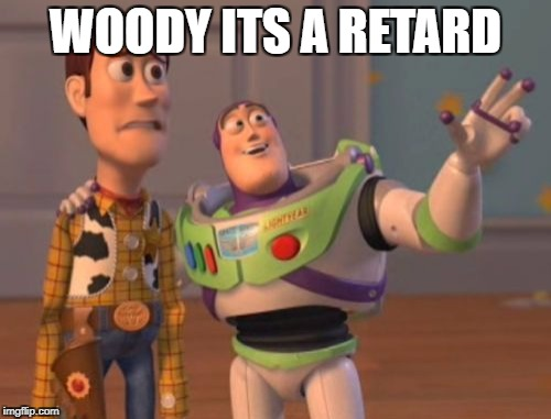 X, X Everywhere Meme | WOODY ITS A RETARD | image tagged in memes,x x everywhere | made w/ Imgflip meme maker