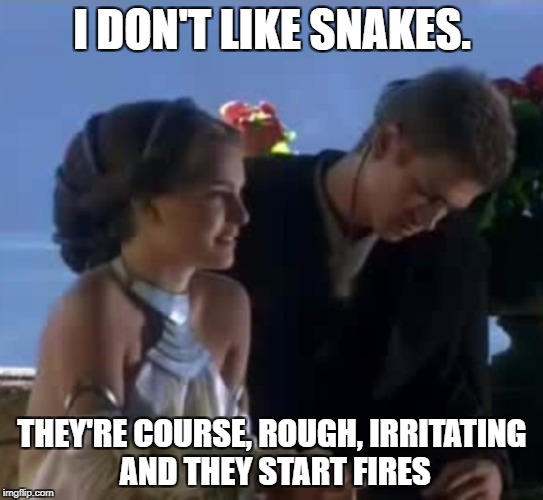 I DON'T LIKE SNAKES. THEY'RE COURSE, ROUGH, IRRITATING AND THEY START FIRES | made w/ Imgflip meme maker