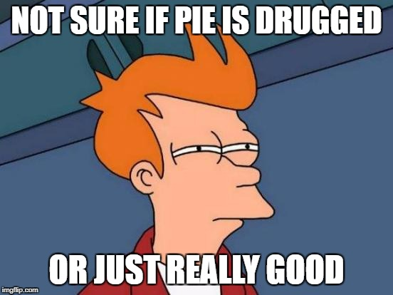 Futurama Fry Meme | NOT SURE IF PIE IS DRUGGED OR JUST REALLY GOOD | image tagged in memes,futurama fry | made w/ Imgflip meme maker