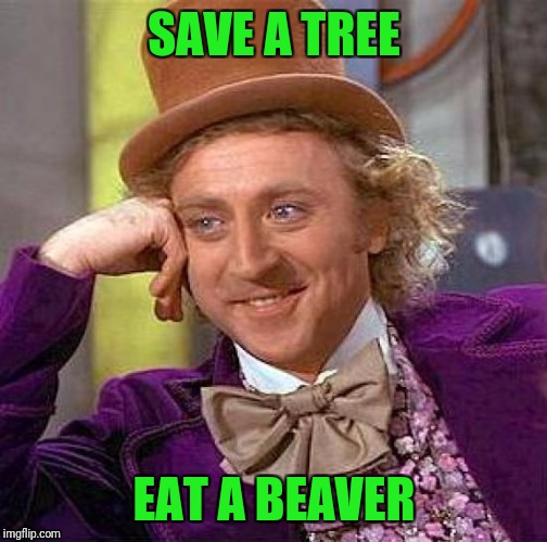 Creepy Condescending Wonka Meme | SAVE A TREE EAT A BEAVER | image tagged in memes,creepy condescending wonka | made w/ Imgflip meme maker