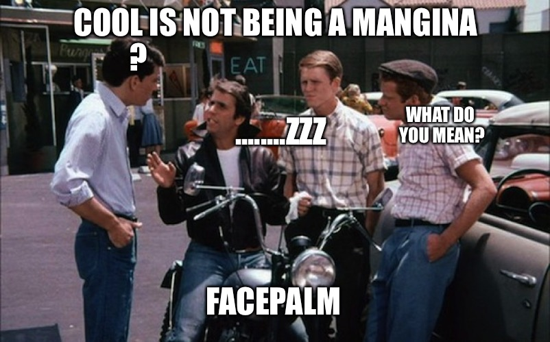 COOL IS NOT BEING A MANGINA WHAT DO YOU MEAN? FACEPALM ? ........ZZZ | image tagged in fonz | made w/ Imgflip meme maker