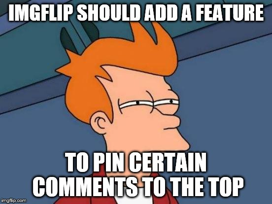 Futurama Fry Meme | IMGFLIP SHOULD ADD A FEATURE TO PIN CERTAIN COMMENTS TO THE TOP | image tagged in memes,futurama fry | made w/ Imgflip meme maker