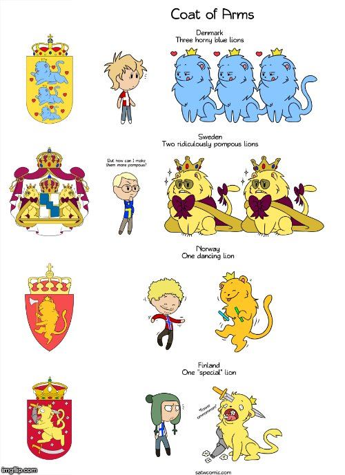 Found this hidden in the many websites of the internet (https://satwcomic.com/coat-of-arms-hd)  | image tagged in satw,coat of arms,denmark,sweeden,finland,norway | made w/ Imgflip meme maker