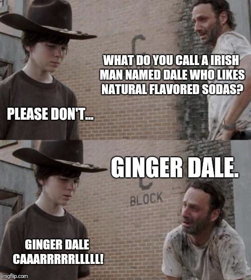 Rick and Carl Meme | WHAT DO YOU CALL A IRISH MAN NAMED DALE WHO LIKES NATURAL FLAVORED SODAS? PLEASE DON'T... GINGER DALE. GINGER DALE CAAARRRRRLLLLL! | image tagged in memes,rick and carl | made w/ Imgflip meme maker