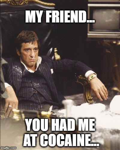 SCARFACE | MY FRIEND... YOU HAD ME AT COCAINE... | image tagged in scarface | made w/ Imgflip meme maker