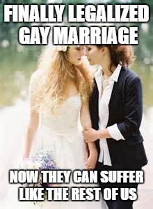 Suffer | FINALLY LEGALIZED GAY MARRIAGE NOW THEY CAN SUFFER LIKE THE REST OF US | image tagged in gay marriage | made w/ Imgflip meme maker