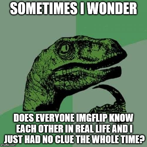 Philosoraptor Meme | SOMETIMES I WONDER DOES EVERYONE IMGFLIP KNOW EACH OTHER IN REAL LIFE AND I JUST HAD NO CLUE THE WHOLE TIME? | image tagged in memes,philosoraptor | made w/ Imgflip meme maker