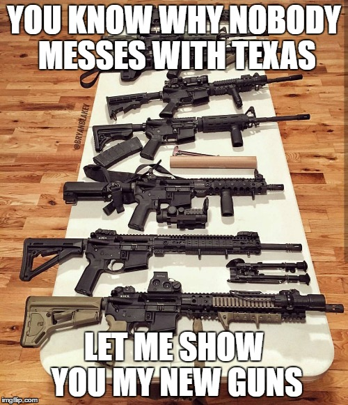 Texas | YOU KNOW WHY NOBODY MESSES WITH TEXAS LET ME SHOW YOU MY NEW GUNS | image tagged in guns | made w/ Imgflip meme maker