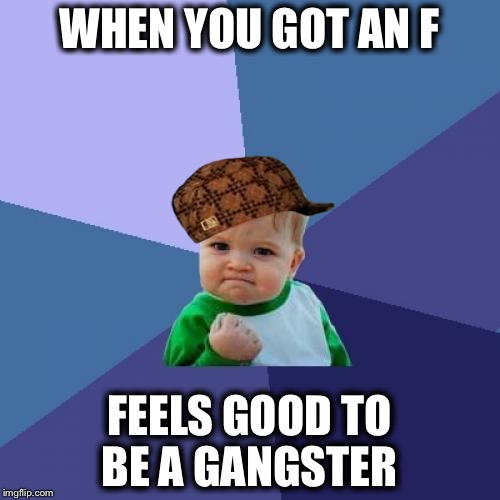 Success Kid Meme | WHEN YOU GOT AN F FEELS GOOD TO BE A GANGSTER | image tagged in memes,success kid,scumbag | made w/ Imgflip meme maker