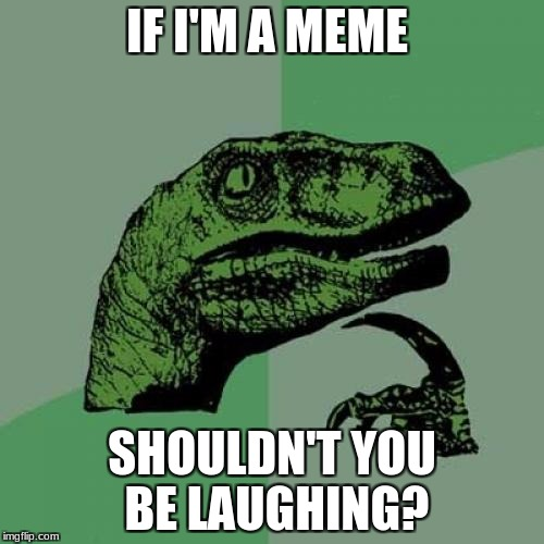 Philosoraptor Meme | IF I'M A MEME SHOULDN'T YOU BE LAUGHING? | image tagged in memes,philosoraptor | made w/ Imgflip meme maker