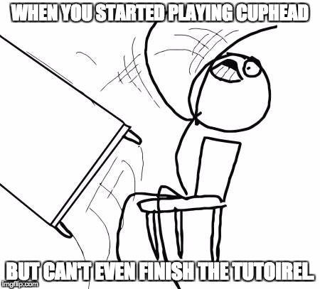 Table Flip Guy Meme | WHEN YOU STARTED PLAYING CUPHEAD BUT CAN'T EVEN FINISH THE TUTOIREL. | image tagged in memes,table flip guy | made w/ Imgflip meme maker