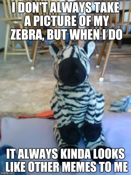 I DON'T ALWAYS TAKE A PICTURE OF MY ZEBRA, BUT WHEN I DO IT ALWAYS KINDA LOOKS LIKE OTHER MEMES TO ME | image tagged in the most interesting zebra in the world | made w/ Imgflip meme maker