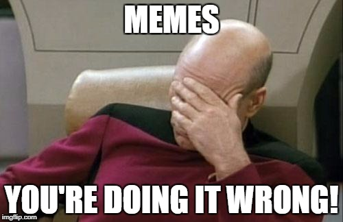 Captain Picard Facepalm Meme | MEMES YOU'RE DOING IT WRONG! | image tagged in memes,captain picard facepalm | made w/ Imgflip meme maker