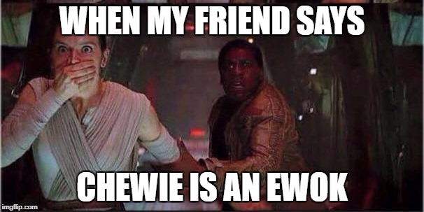 Star Wars Rey | WHEN MY FRIEND SAYS CHEWIE IS AN EWOK | image tagged in star wars rey | made w/ Imgflip meme maker