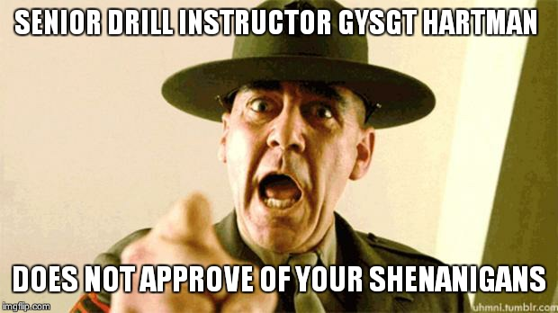 Drill Instructor | SENIOR DRILL INSTRUCTOR GYSGT HARTMAN DOES NOT APPROVE OF YOUR SHENANIGANS | image tagged in drill instructor | made w/ Imgflip meme maker