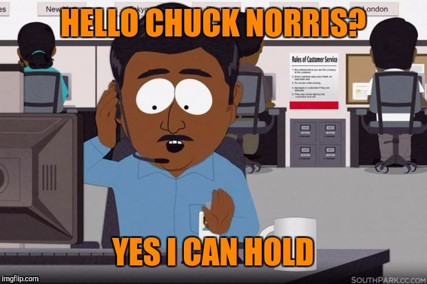HELLO CHUCK NORRIS? YES I CAN HOLD | image tagged in steve,customer service | made w/ Imgflip meme maker