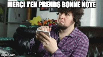 MERCI J'EN PRENDS BONNE NOTE | image tagged in taking notes | made w/ Imgflip meme maker