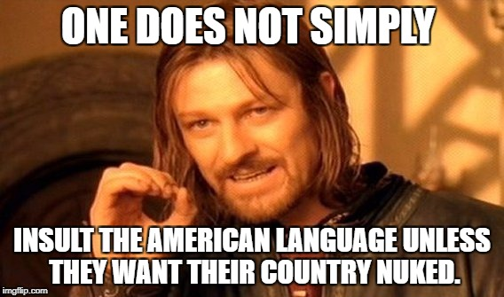 ONE DOES NOT SIMPLY INSULT THE AMERICAN LANGUAGE UNLESS THEY WANT THEIR COUNTRY NUKED. | image tagged in memes,one does not simply | made w/ Imgflip meme maker