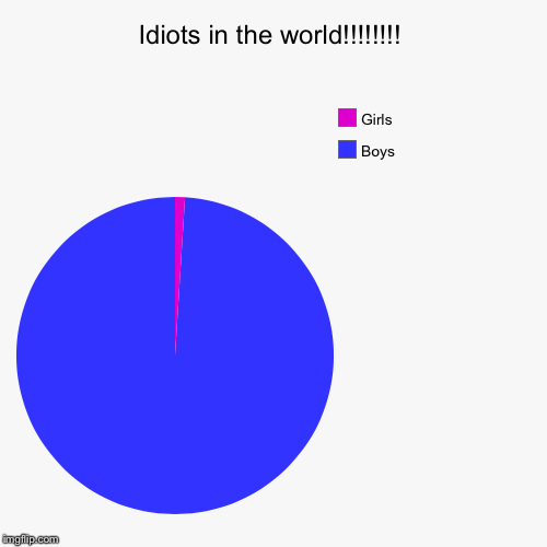 Idiots in the world!!!!!!!! | Boys, Girls | image tagged in funny,pie charts | made w/ Imgflip pie chart maker