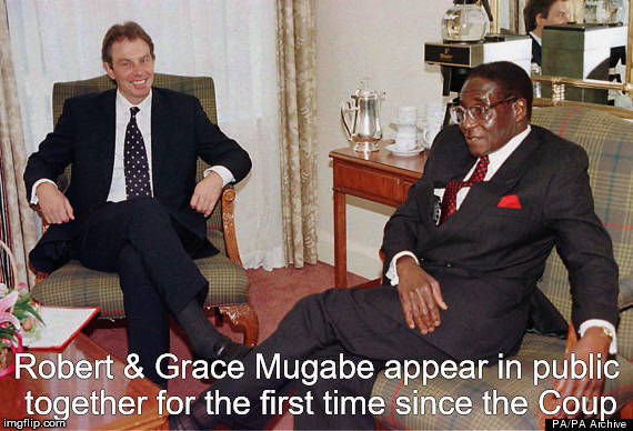 Robert & Grace Mugabe | Robert & Grace Mugabe appear in public together for the first time since the Coup | image tagged in grace mugabe,tony blair,robert mugabe | made w/ Imgflip meme maker