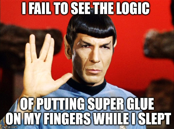 I FAIL TO SEE THE LOGIC OF PUTTING SUPER GLUE ON MY FINGERS WHILE I SLEPT | image tagged in spock | made w/ Imgflip meme maker