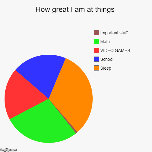 How great I am at things | Sleep, School, VIDEO GAMES, Math, Important stuff | image tagged in funny,pie charts | made w/ Imgflip pie chart maker