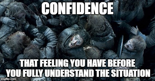 CONFIDENCE THAT FEELING YOU HAVE BEFORE YOU FULLY UNDERSTAND THE SITUATION | image tagged in jon snow battle of the bastard | made w/ Imgflip meme maker