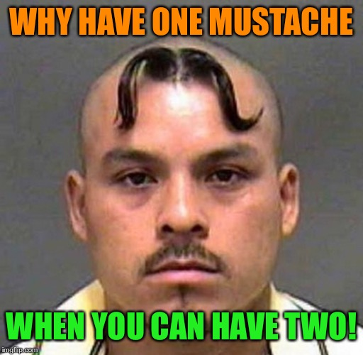 This man is a genius | WHY HAVE ONE MUSTACHE WHEN YOU CAN HAVE TWO! | image tagged in mustache,why not,haircut,hairstyle,memes,funny | made w/ Imgflip meme maker