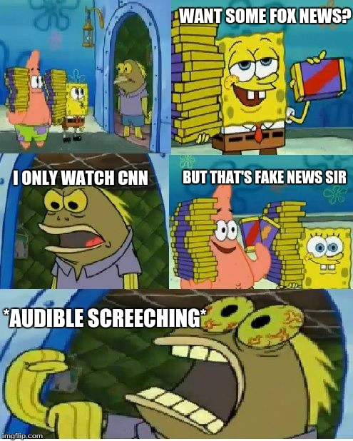 lets C-NN the truth | WANT SOME FOX NEWS? I ONLY WATCH CNN BUT THAT'S FAKE NEWS SIR *AUDIBLE SCREECHING* | image tagged in memes,chocolate spongebob | made w/ Imgflip meme maker