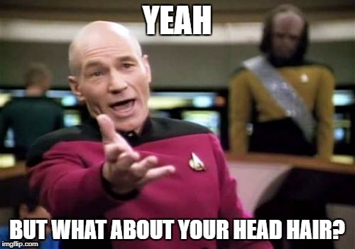 Picard Wtf Meme | YEAH BUT WHAT ABOUT YOUR HEAD HAIR? | image tagged in memes,picard wtf | made w/ Imgflip meme maker