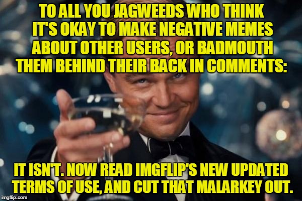 Ignoring, downvoting, or flagging bad memes and comments is okay. Making memes and comments to attack other users is not. | TO ALL YOU JAGWEEDS WHO THINK IT'S OKAY TO MAKE NEGATIVE MEMES ABOUT OTHER USERS, OR BADMOUTH THEM BEHIND THEIR BACK IN COMMENTS: IT ISN'T.  | image tagged in memes,imgflip,terms,bad behavior,nsfw weekend,thank you mods | made w/ Imgflip meme maker