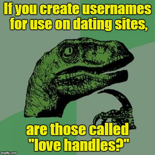 "Philosoraptor Meme | If you create usernames for use on dating sites, are those called ""love handles?"" 
