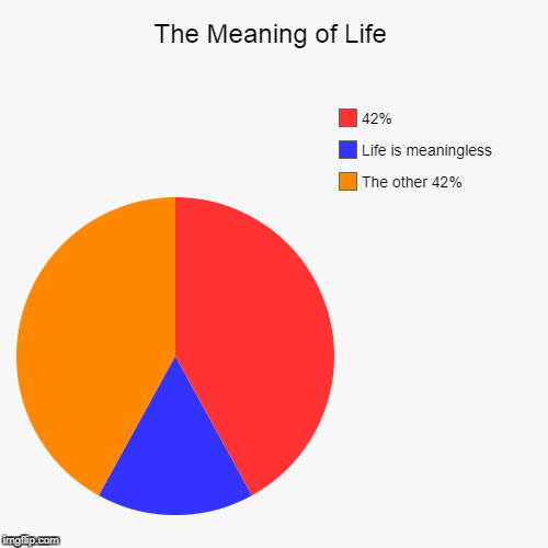 The Meaning of Life | The other 42%, Life is meaningless, 42% | image tagged in funny,pie charts | made w/ Imgflip pie chart maker