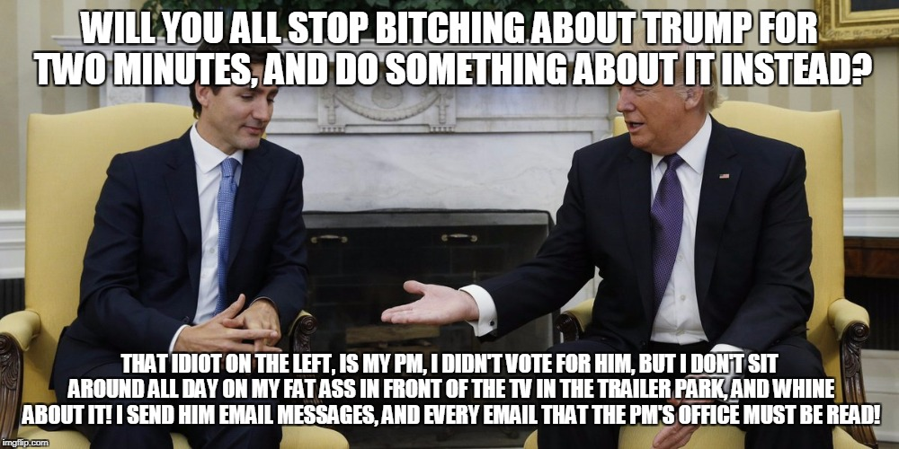 WILL YOU ALL STOP B**CHING ABOUT TRUMP FOR TWO MINUTES, AND DO SOMETHING ABOUT IT INSTEAD? THAT IDIOT ON THE LEFT, IS MY PM, I DIDN'T VOTE F | image tagged in justin trudeau and trump handshake | made w/ Imgflip meme maker