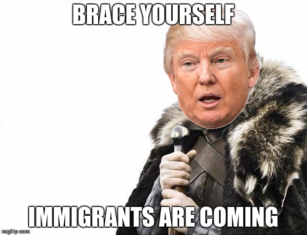 Brace Yourselves X is Coming Meme | BRACE YOURSELF IMMIGRANTS ARE COMING | image tagged in memes,brace yourselves x is coming | made w/ Imgflip meme maker