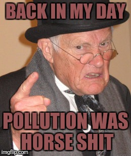 Back In My Day Meme | BACK IN MY DAY POLLUTION WAS HORSE SHIT | image tagged in memes,back in my day | made w/ Imgflip meme maker