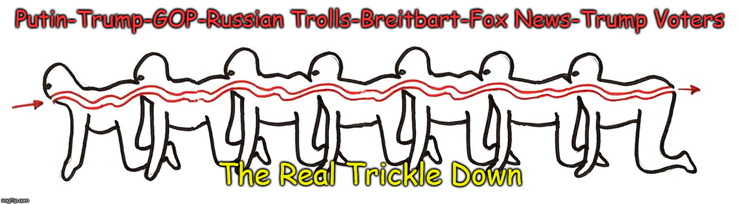 Trickle Down | Putin-Trump-GOP-Russian Trolls-Breitbart-Fox News-Trump Voters The Real Trickle Down | image tagged in trickle down,conspiracy,putin,trump,treason,shit | made w/ Imgflip meme maker