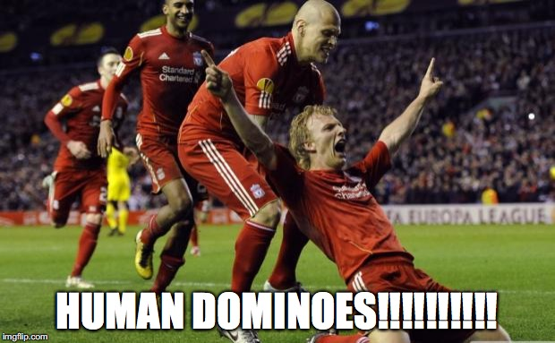 soccer goal | HUMAN DOMINOES!!!!!!!!!! | image tagged in soccer goal | made w/ Imgflip meme maker
