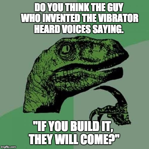 "Philosoraptor Meme | DO YOU THINK THE GUY WHO INVENTED THE VIBRATOR HEARD VOICES SAYING. ""IF YOU BUILD IT, THEY WILL COME?"" 