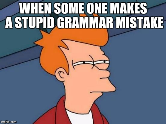 Futurama Fry Meme | WHEN SOME ONE MAKES A STUPID GRAMMAR MISTAKE | image tagged in memes,futurama fry | made w/ Imgflip meme maker