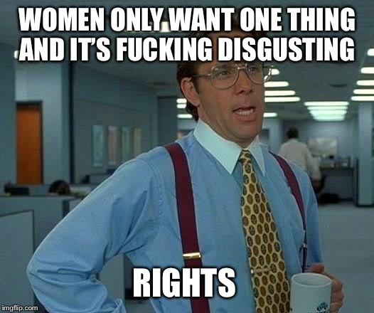 That Would Be Great Meme | WOMEN ONLY WANT ONE THING AND IT'S F**KING DISGUSTING RIGHTS | image tagged in memes,that would be great | made w/ Imgflip meme maker