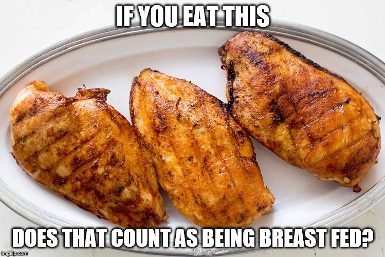 Food for thought. | IF YOU EAT THIS DOES THAT COUNT AS BEING BREAST FED? | image tagged in chicken | made w/ Imgflip meme maker