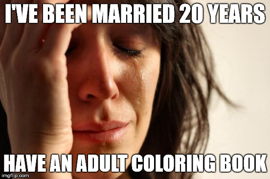 First World Problems Meme | I'VE BEEN MARRIED 20 YEARS HAVE AN ADULT COLORING BOOK | image tagged in memes,first world problems | made w/ Imgflip meme maker