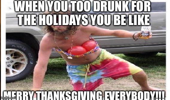 WHEN YOU TOO DRUNK FOR THE HOLIDAYS YOU BE LIKE MERRY THANKSGIVING EVERYBODY!!! | image tagged in funny meme | made w/ Imgflip meme maker