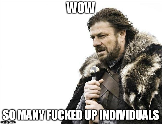 Brace Yourselves X is Coming Meme | WOW SO MANY F**KED UP INDIVIDUALS | image tagged in memes,brace yourselves x is coming,fucked up,fucked | made w/ Imgflip meme maker