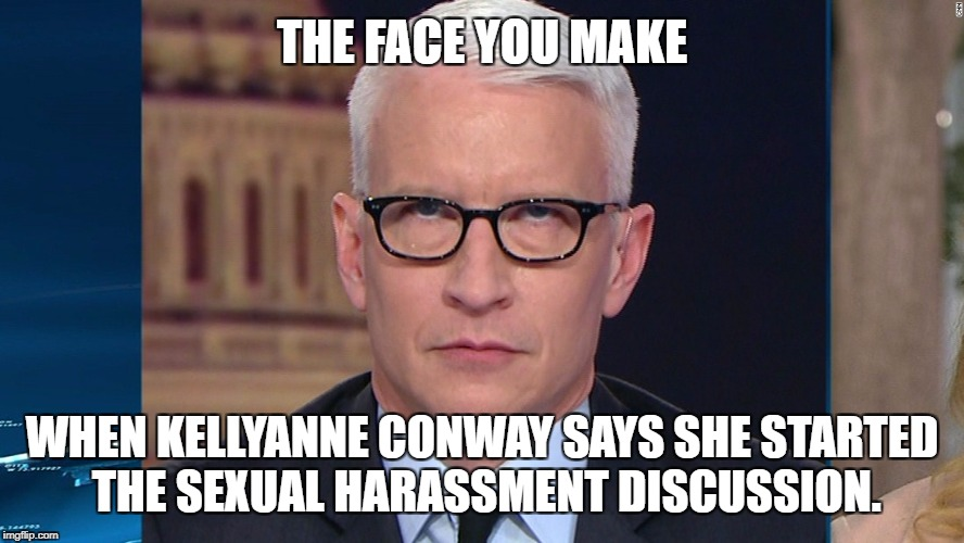 Kellyanne Conway says she started the sexual harassment discussion | THE FACE YOU MAKE WHEN KELLYANNE CONWAY SAYS SHE STARTED THE SEXUAL HARASSMENT DISCUSSION. | image tagged in the face you make anderson cooper,kellyanne conway alternative facts,fox news,sexual harassment,fake news,seriously face | made w/ Imgflip meme maker