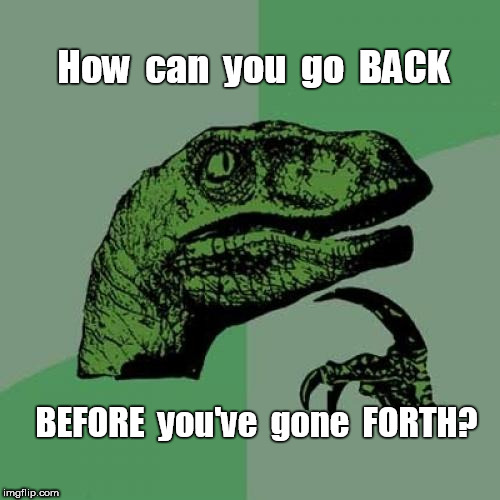 Philosoraptor Back and Forth | How  can  you  go  BACK BEFORE  you've  gone  FORTH? | image tagged in memes,philosoraptor,illogical | made w/ Imgflip meme maker