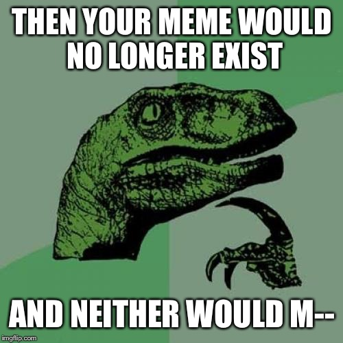 Philosoraptor Meme | THEN YOUR MEME WOULD NO LONGER EXIST AND NEITHER WOULD M-- | image tagged in memes,philosoraptor | made w/ Imgflip meme maker