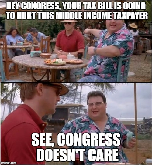 HEY CONGRESS, YOUR TAX BILL IS GOING TO HURT THIS MIDDLE INCOME TAXPAYER SEE, CONGRESS DOESN'T CARE | image tagged in no one cares | made w/ Imgflip meme maker